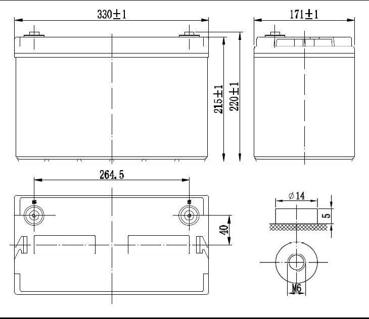 Габариты и тип клемм аккумулятора Delta GX 12-100