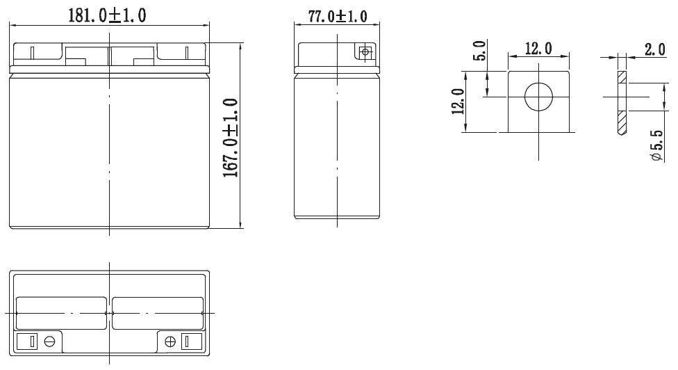 Габариты и тип клемм аккумулятора Delta GX 12-17