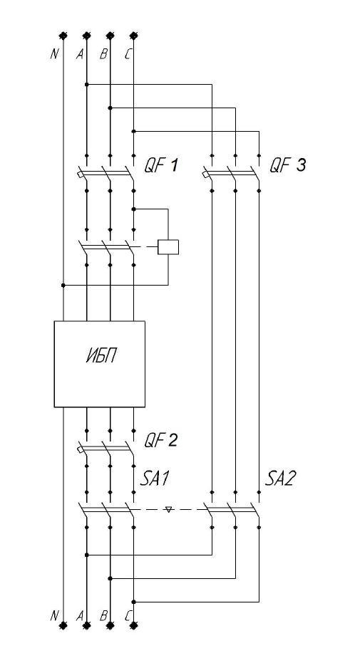схема внешнего байпаса ИБП, кликабельно