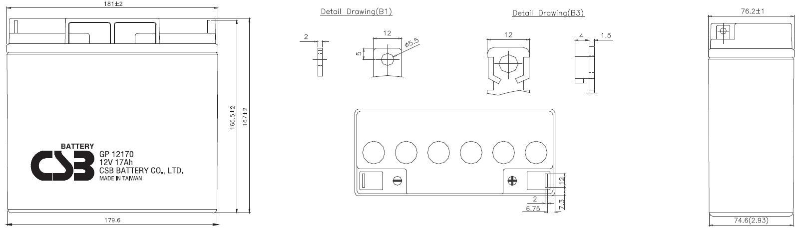 Габариты и тип клемм аккумулятора CSB GP12170