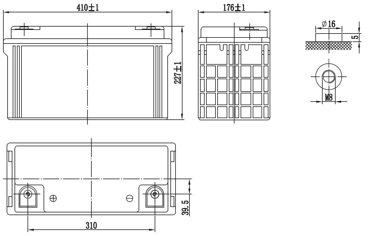 Габариты и тип клемм аккумулятора Delta GX 12-120