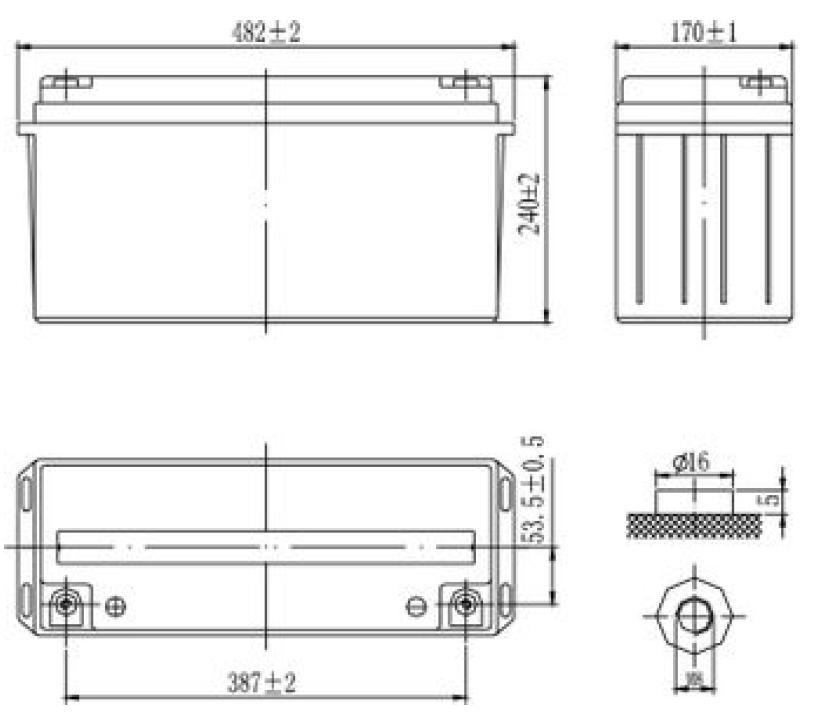 Габариты и тип клемм аккумулятора Delta GX 12-150