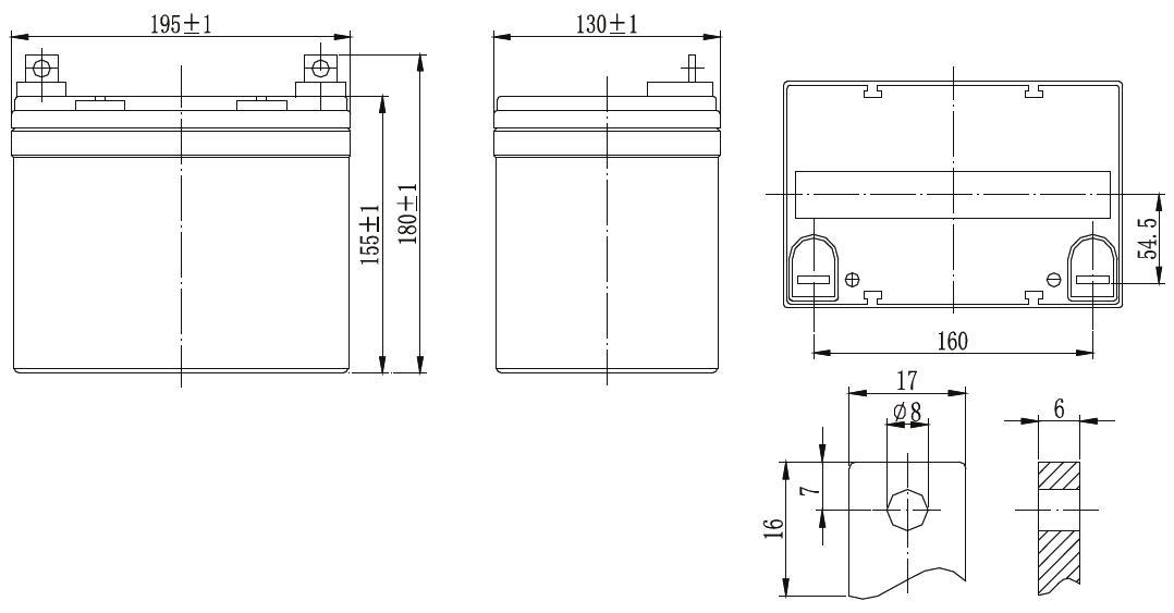 Габариты и тип клемм аккумулятора Delta GX 12-33
