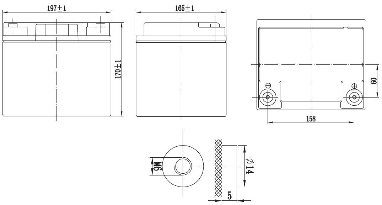 Габариты и тип клемм аккумулятора Delta GX 12-40
