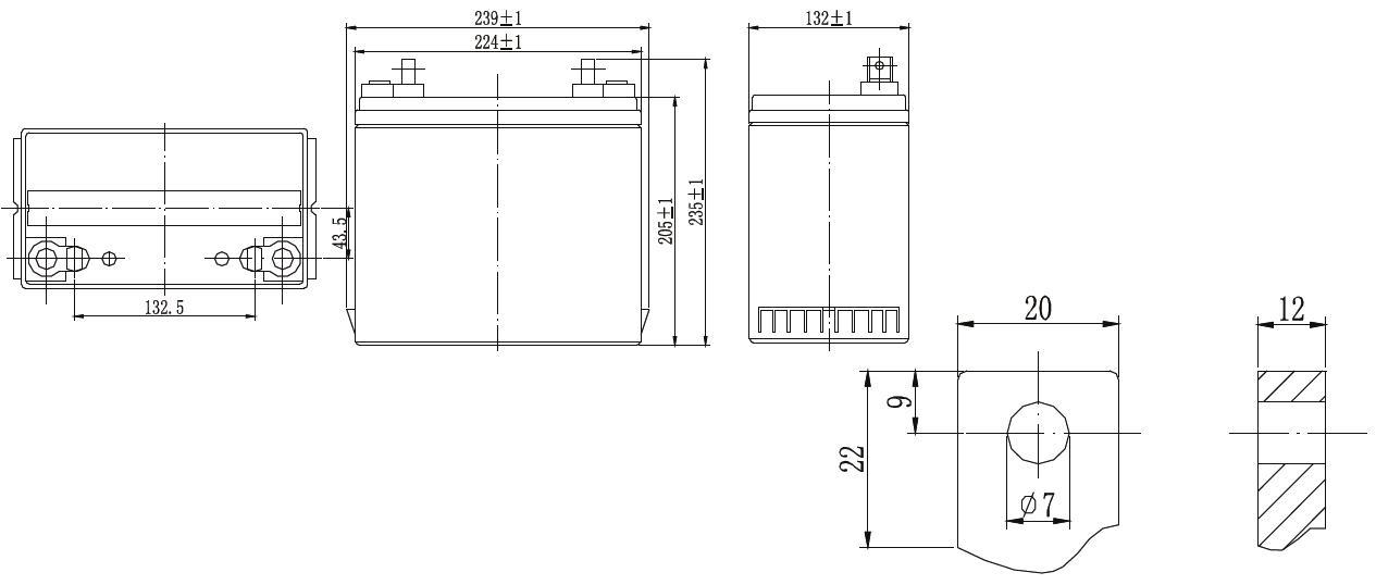 Габариты и тип клемм аккумулятора Delta GX 12-55