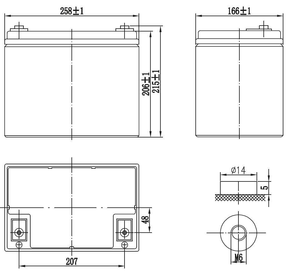 Габариты и тип клемм аккумулятора Delta GX 12-75