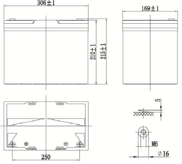 Габариты и тип клемм аккумулятора Delta GX 12-90
