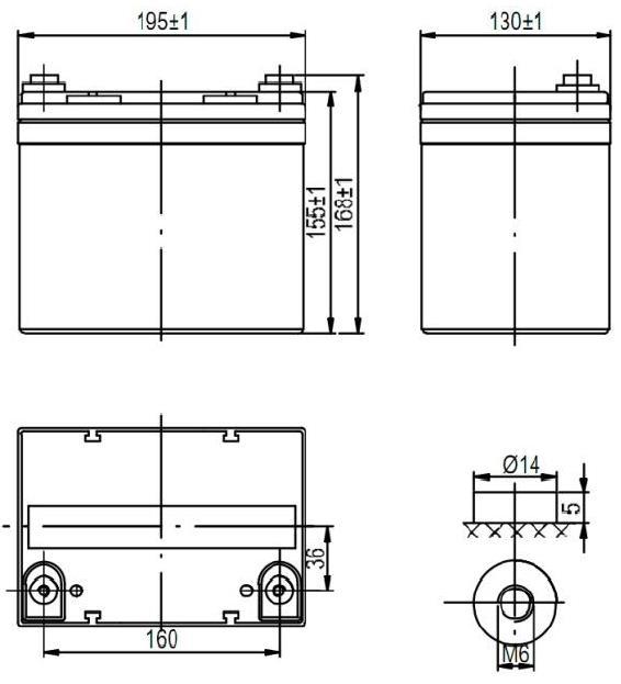 Габариты и тип клемм аккумулятора Delta DTM 1233 L