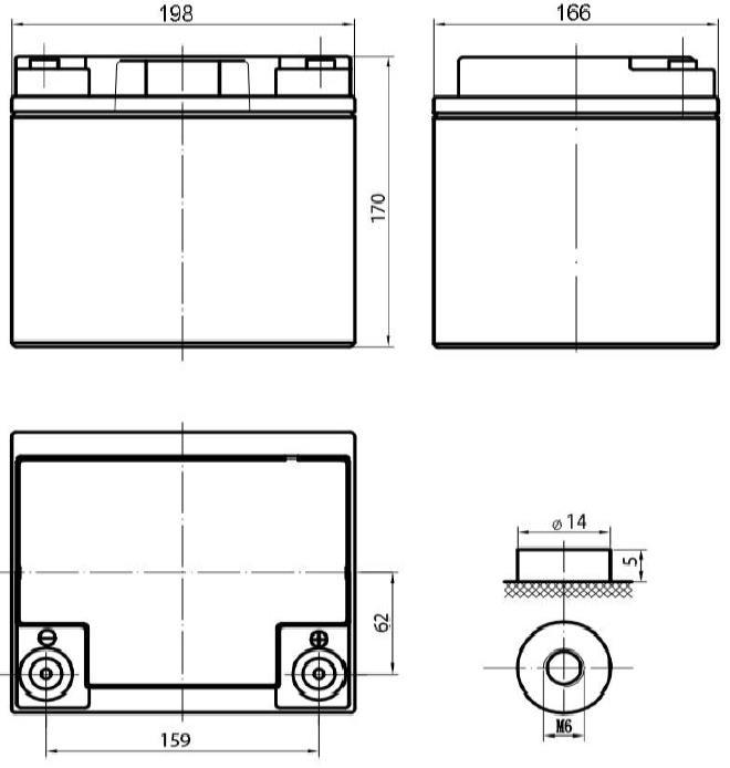 Габариты и тип клемм аккумулятора Delta DTM 1240 L
