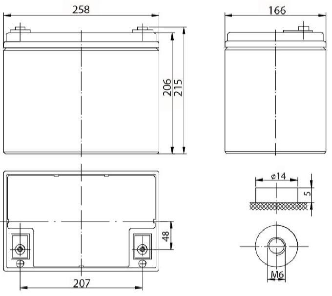 Габариты и тип клемм аккумулятора Delta DTM 1275 L