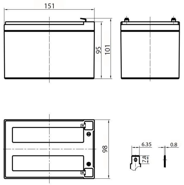 Габариты и тип клемм аккумулятора Delta HR 12-12