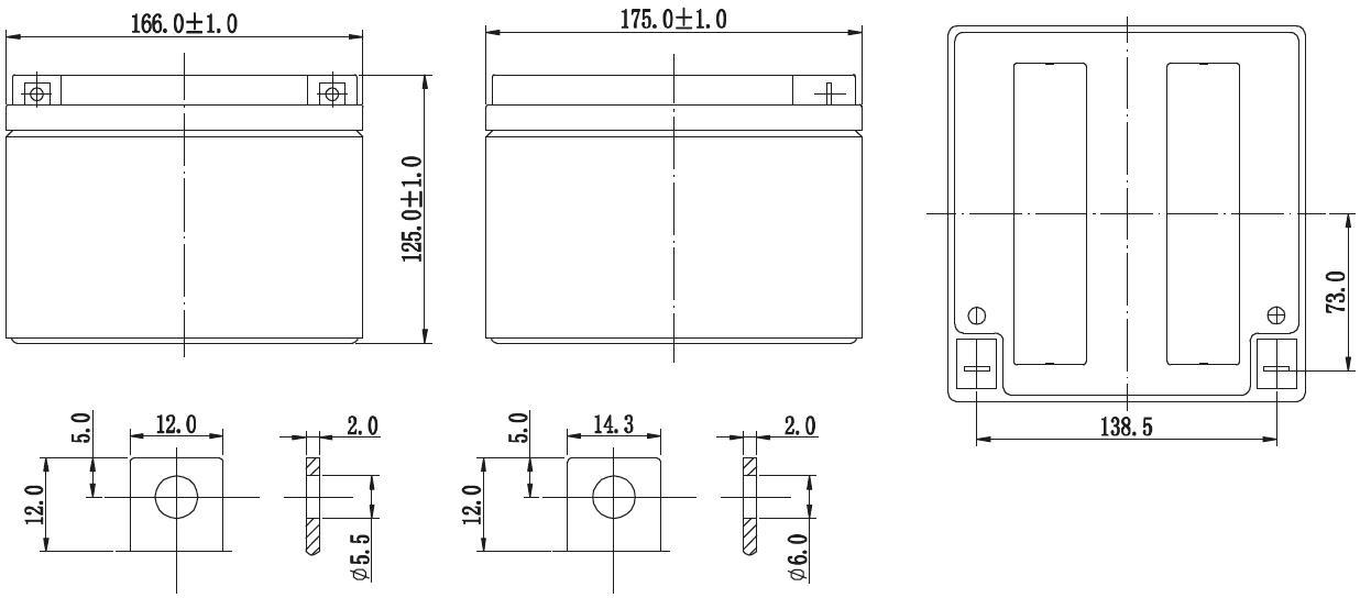 Габариты и тип клемм аккумулятора Delta GX 12-24