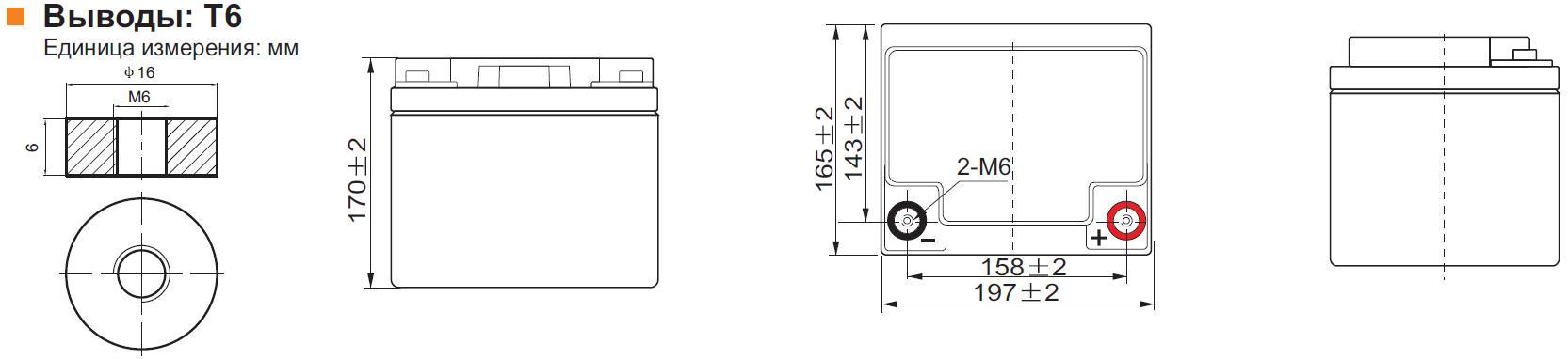 Габариты и тип клемм аккумулятора Leoch DJM 1245