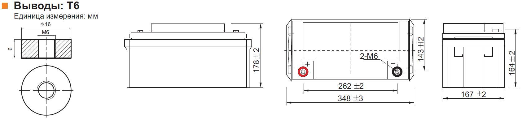Габариты и тип клемм аккумулятора Leoch DJM 1265