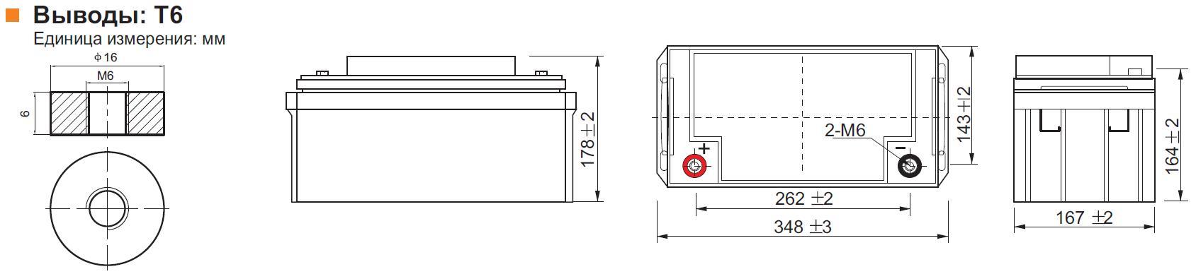Габариты и тип клемм аккумулятора Leoch DJM 1275