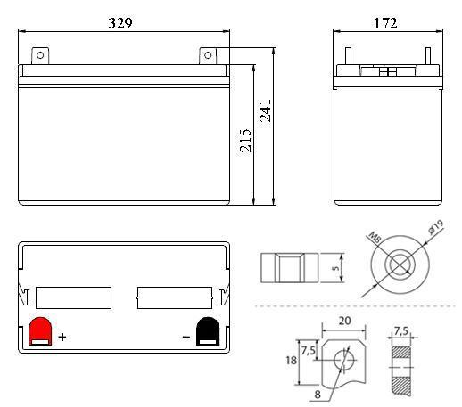 Габариты и тип клемм аккумулятора Delta DT 12100