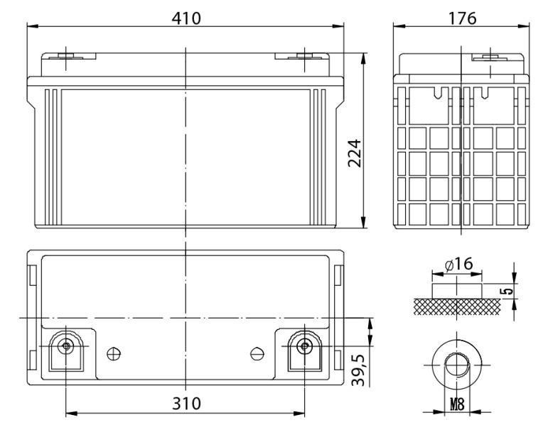 Габариты и тип клемм аккумулятора Delta DTM 12120 L