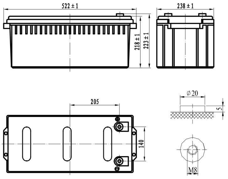 Габариты и тип клемм аккумулятора Delta DTM 12200 L