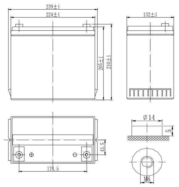 Габариты и тип клемм аккумулятора Delta DTM1255L