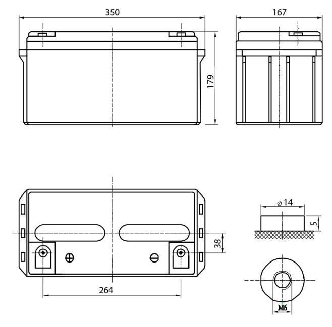 Габариты и тип клемм аккумулятора Delta DTM1265L