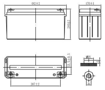 Габариты и тип клемм аккумулятора Delta DTM 12150 L
