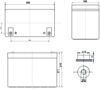 Габариты и тип клемм аккумулятора Delta DTM 12100 L
