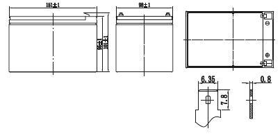 Габариты и тип клемм аккумулятора Delta GX 12-12